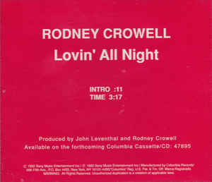 Lovin All Night 1992 single by Rodney Crowell