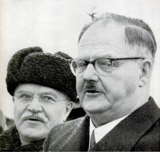 April 1955. Molotov (left) meets Raab (right) in Moscow. Molotov, Raab April 1955.jpg