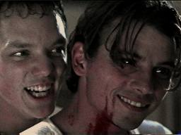 From left to right; Stu Macher (Matthew Lillar...