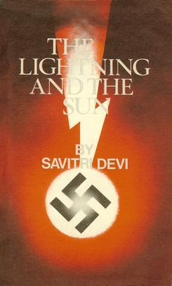 A lightning bolt and a Nazi swastika in front of the Sun. Book title at top, author name in middle
