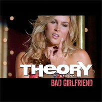 "A blonde woman is seen with her hand in a ""Come here"" motion. The phrases ""Theory of a Deadman"" and ""Bad Girlfriend"" are printed at the bottom."
