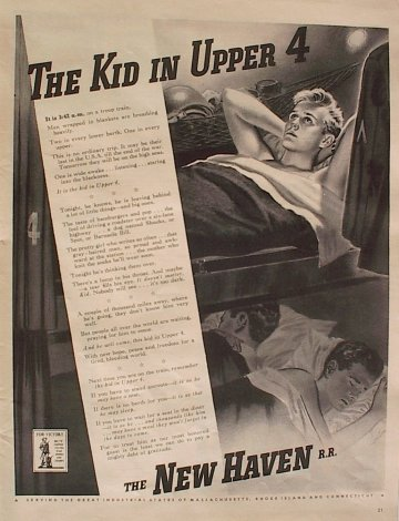 "NH RR's 1942 World War II advertisement ""The Kid in Upper 4."" This ad depicts an open section of a sleeping car. Kidupper4.jpg"