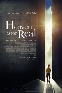 Heaven is for Real film poster which shows the image of a young boy as seen from the back. He is looking out an open door at a sunny, cloud filled sky.