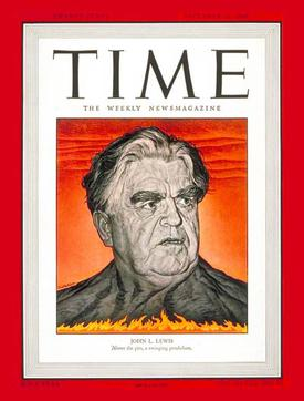Time magazine was hostile to Lewis and depicted him in 1946, as a dangerous volcano. Lewis1946.jpg