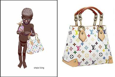 """Simple Living"" image (left) and Vuitton's Audra bag, created by Takashi Murakami (right) Simpleliving lg.jpg"