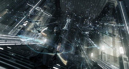 A screenshot from the original trailer for Final Fantasy Versus XIII, showing Noctis displaying his powers. The initial trailers would continue to influence development goals for the game despite story and gameplay changes. FF Versus XIII first trailer screenshot.png