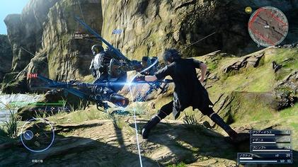 The Active Cross Battle system in action, showing Noctis attacking a hostile soldier in one of the game's environments Final Fantasy XV gameplay.jpg