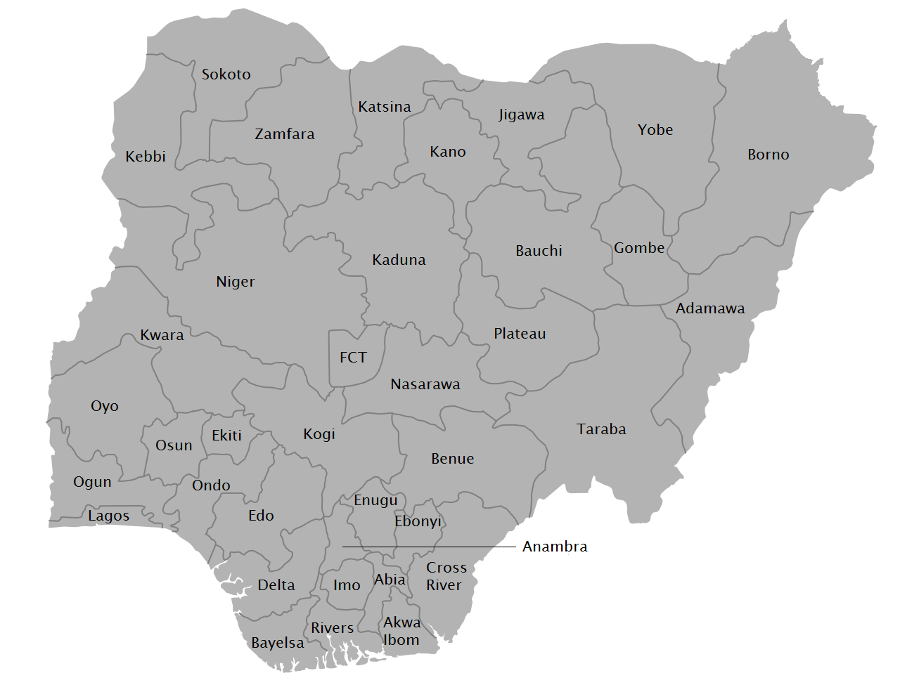 File:Map of Nigerian States with names.png - Wikipedia
