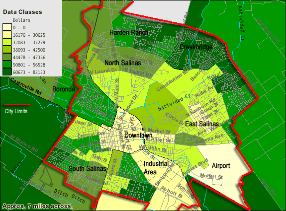 Map of income distribution in Salinas.