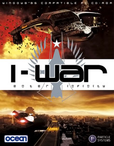 The European box art of I-War. The vessel on the top half is Under New Ownership, the former Navy destroyer captured and renamed by the Indies.