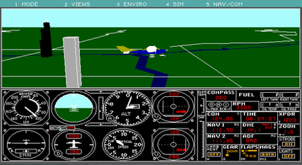 FS 3.0 – Many more buildings and additional aircraft. For the first time, users had an option to view the aircraft from the outside. A Cessna Skylane flying over Chicago is shown here.