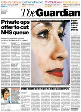 Front page of The Guardian from 2001, showing the old design of the paper when in broadsheet format. This design was used from 1988-2005