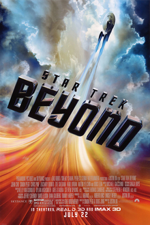 "USS Enterprise flying through the universe, with the film's title ""Beyond"", and the film's billing below."