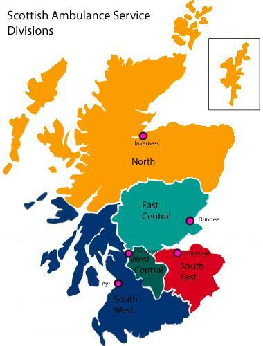 Map of the five regional divisions within the Scottish Ambulance Service. SASDivmap copy.jpg