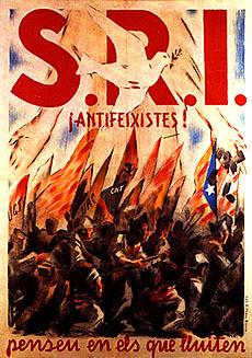 SRI poster in Catalan language. Text reads 'Anti-Fascists: Think of those who struggle!'