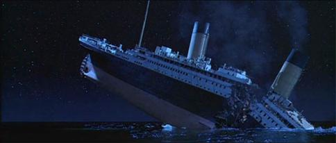 titanic crashed