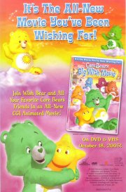 Below either side of the tagline (at top),Funshine Bear and Good Luck Bear are sitting on clouds; at the bottom of the poster, Wish Bear hugs Twinklers. On the DVD cover for the film (at centre right), she waves to the camera while five others are floating in the background.