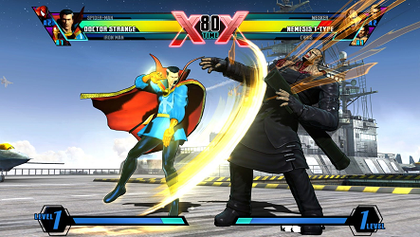 Doctor Strange attacks Nemesis T-Type on the S.H.I.E.L.D. Air Show stage. Ultimate Marvel vs. Capcom 3 features a new HUD designed to give the player's current character and X-Factor ability more visual prominence. UMvC3 screenshot.png