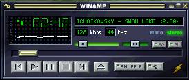 Winamp 2, shown with default Base Skin