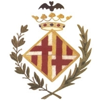 diamond shaped crest surrounded by laurels and topped with a crown and a bat