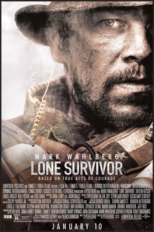 "Half of one man's face is shown on the right side of the poster. The man has a beard and is wearing a military uniform. Across the top of the poster is the tagline, ""Live to tell the story"", in uppercase white. On the top left side of the poster is the name, ""Mark Wahlberg"", in uppercase white, laying above the film title Lone Survivor. Underneath the film title, in uppercase white, is a second tagline, ""Based on true acts of courage""."