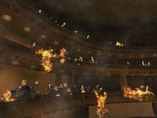 Critics highlighted the shocking opening scene where the entire opera audience spontaneously combusts. Spontaneousfireparasiteeve.png