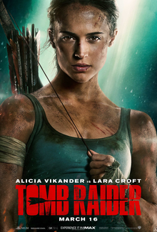 A close-up shot of a gritty-looking Lara Croft is seen with the film's title, her actress' name and company logos on the bottom.