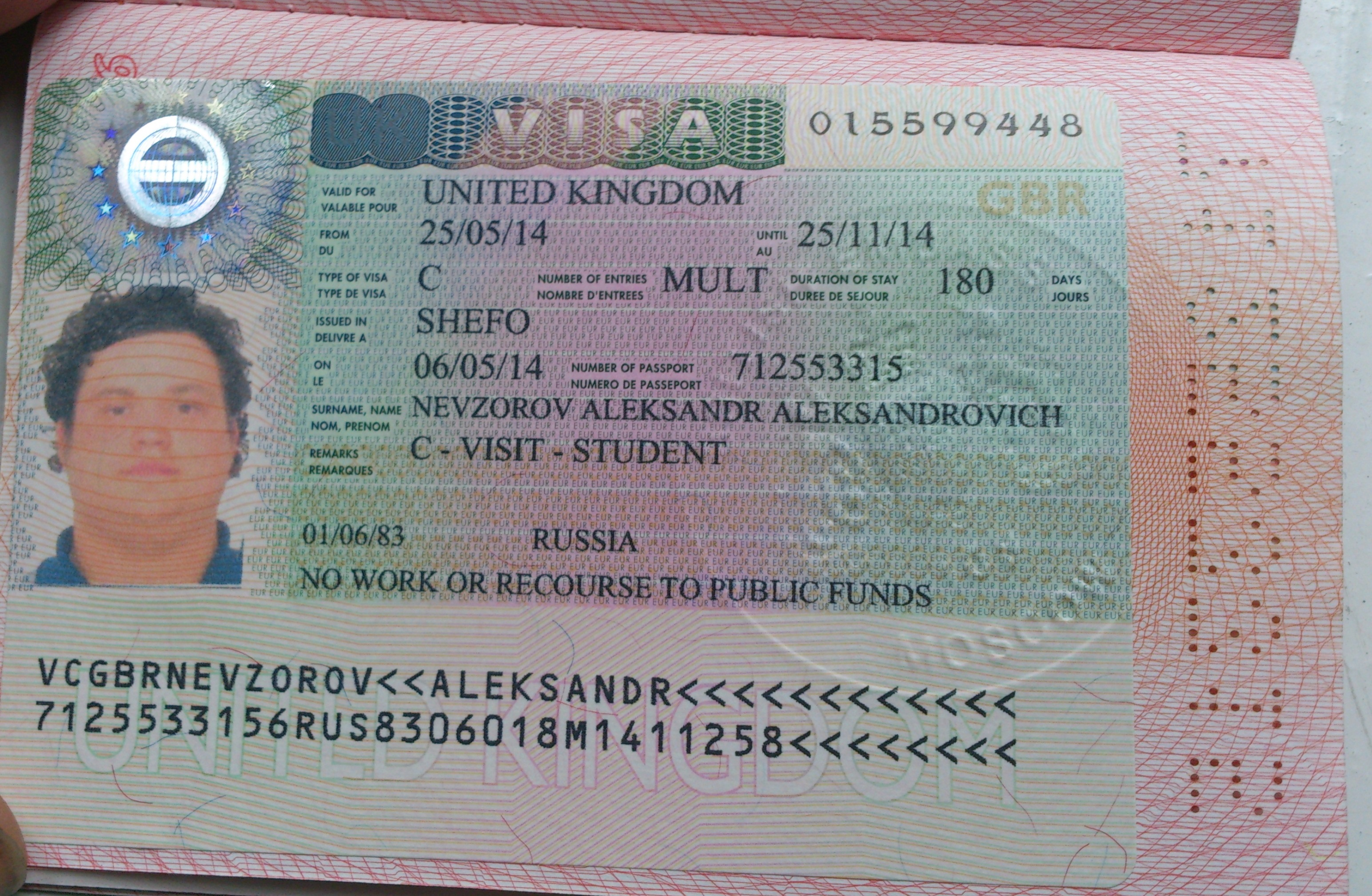 The Uk Visa In A Russian Student's Passport