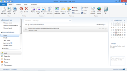 how to clear search history windows live mail
