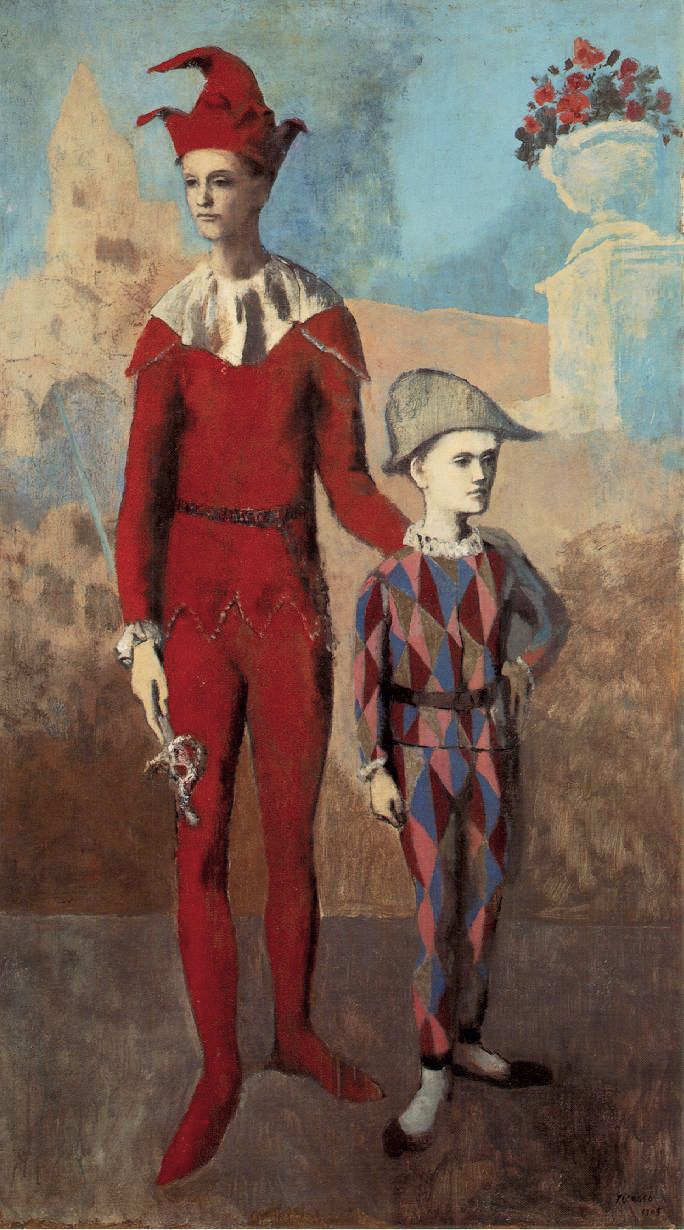 Pablo Picasso, 1905, Acrobate et jeune Arlequin (Acrobat and Young Harlequin), oil on canvas, 191.1 x 108.6 cm, The Barnes Foundation, Philadelphia.jpg
