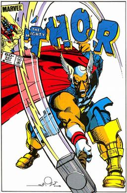 Beta Ray Bill on the cover of Thor #337 (Nov. 1983). Art by Walt Simonson.