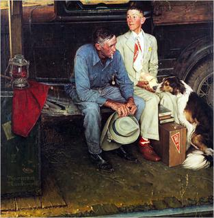 <i>Breaking Home Ties</i> painting by Norman Rockwell