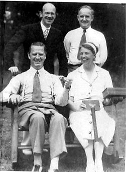 Eleanor Roosevelt, George T. Bye (her literary agent, upper right), Deems Taylor (upper left), Westbrook Pegler (lower left), Quaker Lake, Pawling, New York (home of Lowell Thomas), 1938