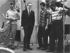 The quartet in 1959 during the Time Out sessions. From left to right: Joe Morello, Paul Desmond, Dave Brubeck, Eugene Wright.