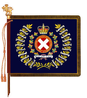 The regimental colour of The Canadian Scottish Regiment (Princess Mary's).