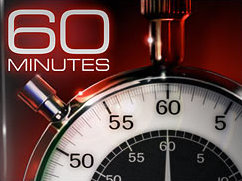 "The phrase ""60 MINUTES"" in Square 721 extended typeface above a stopwatch showing a hand pointing to the number 60."