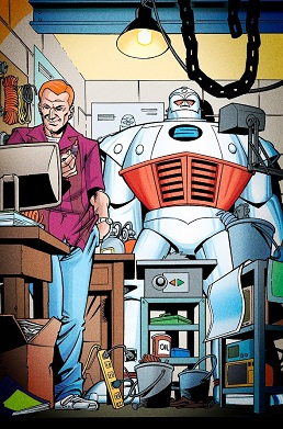 Dugan and his new powered-exosuit, which he uses as the armored superhero the S.T.R.I.P.E. Art by  Lee Moder (penciller), Dan Davis (inker), and Tom McCraw (colorist).