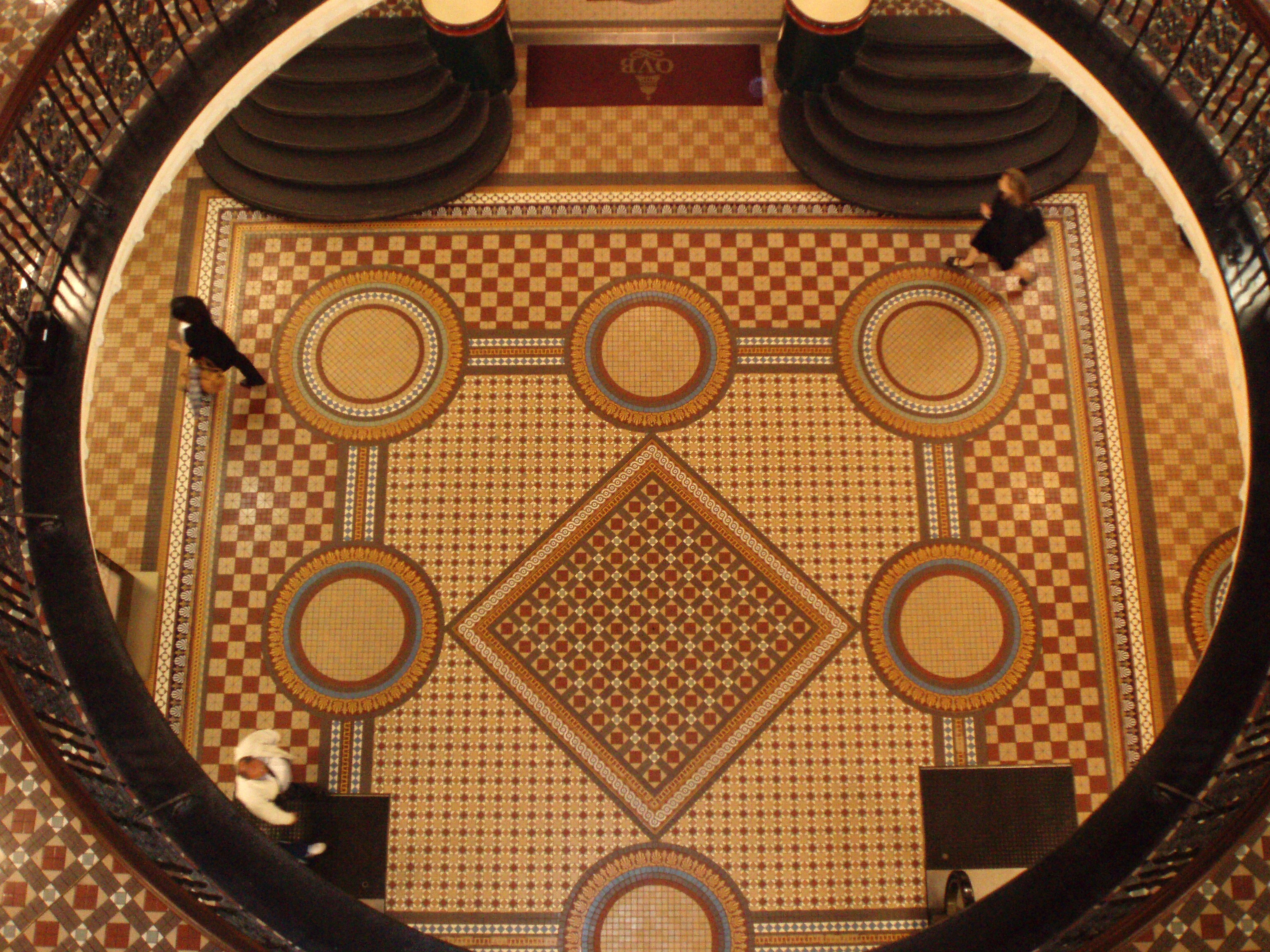 The elaborate floor pattern of the sydney queen victoria building