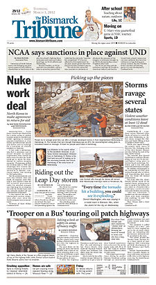 The Bismarck Tribune front page.jpg