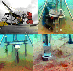 The second SPI-Scan prototype in field trials.  Seen here deploying from the 6 m R/V Nauplius (upper left), on the seabed though locked in the up position (upper right and lower left – lasers not visible here), and starting to dig into the sand (lower right).
