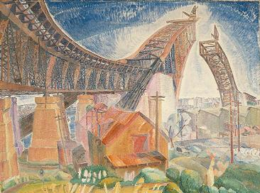 Grace Cossington Smith's painting of the arch under construction. The bridge in curve 1926.jpg