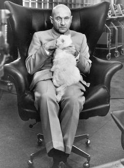 Donald Pleasence as Ernst Stavro Blofeld in the 1967 James Bond movie You Only Live Twice.