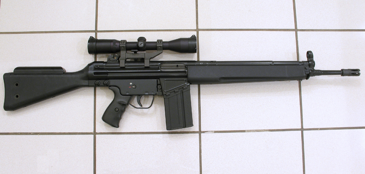 This is a rare Sante Fe import HK 41 chambered in × It is a very early import that has the original HK designed pin on the lower. Comes with 2 original magazines and an HK collapsable buttstock.