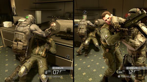 Split Screen mode of the Co-op campaign. Arche...