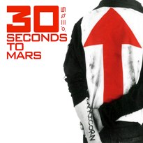"A person that wears a black and white shirt with a red arrow and black jeans. On his left arm is written ""Capricorn"". In the top left, the words ""30 Seconds to Mars"" and four symbols (₪ ᴓ III ·o.) are written in red font, with the ""30"" in bold."