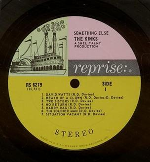 """Tricolor"" label, used by Reprise until 1968. (Label to the Kinks' Something Else.) Reprise Label Tricolor Kinks.JPG"