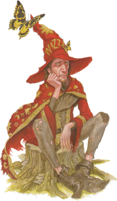 Rincewind as illustrated by Paul Kidby in The Art of Discworld