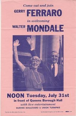 A flyer advertised a post-convention Queens Borough Hall rally, for Ferraro to introduce Mondale to New York City voters. FerraroMondaleFlyer.jpg