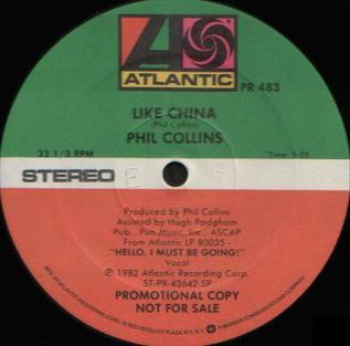 Like China 1983 promotional single by Phil Collins