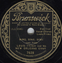 Sing, Sing, Sing (With a Swing) 1936 song by Louis Prima